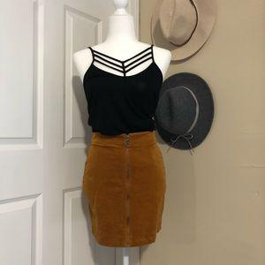 Brown Suede Front Zip Suede Skirt